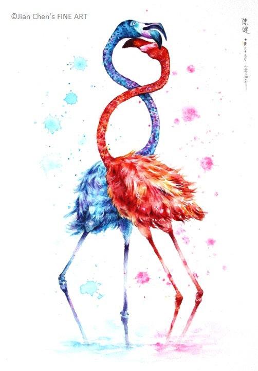 Jian Bird en rouge et bleu embrassant