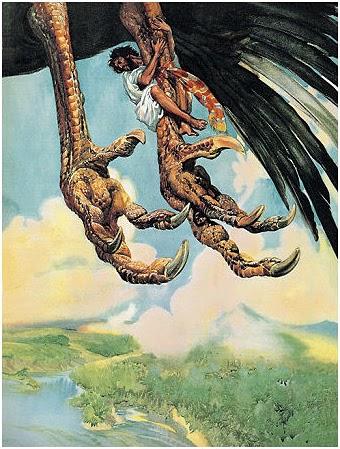 Simbad colgando del pájaro roc. Fuente- Occultopedia