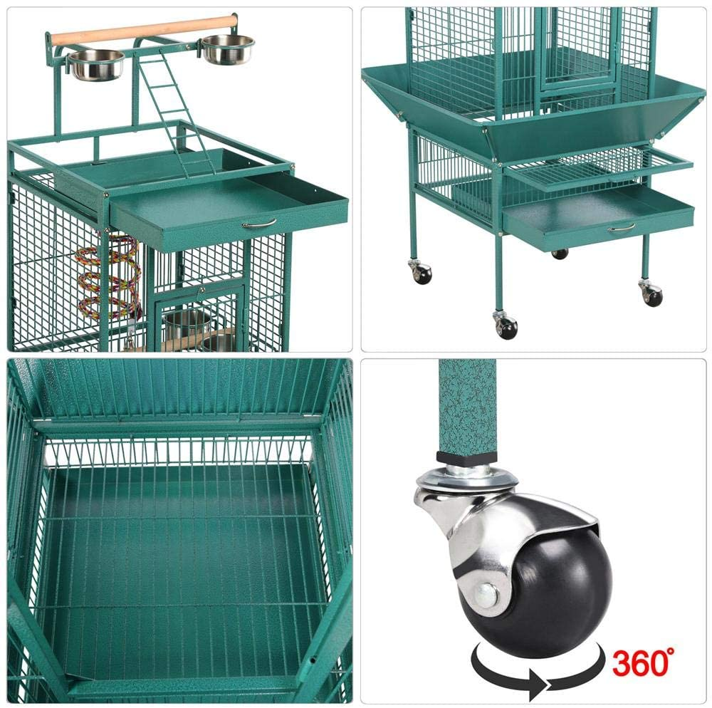 YAHEETECH 61-inch Wrought Iron Rolling Play Top Large Parrot Bird Cage