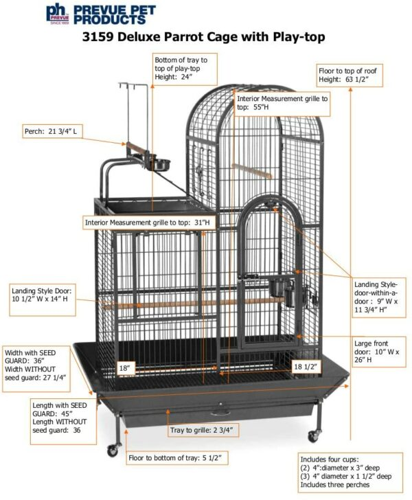Prevue Pet Products 3159 Deluxe Double Top Bird Cage